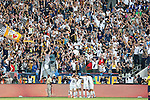 07 December 2014: Los Angeles players celebrate the winning goal by Robbie Keane (IRL) in front of The Right Squad, a Los Angeles supporters group. The Los Angeles Galaxy played the New England Revolution in Carson, California in MLS Cup 2014. Los Angeles won 2-1 in overtime.