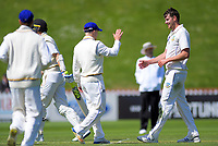 Otago's Jacob Duffy celebrates dismissing Wellington's Ben Sears for a duck during day two of the Plunket Shield cricket match between the Wellington Firebirds and Otago Volts at the Basin Reserve in Wellington, New Zealand on Tuesday, 22 October 2019. Photo: Dave Lintott / lintottphoto.co.nz