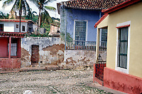 Trinidad Cuba, Street corner colorful houses , pictures of front door entrances