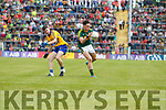 Cian Gammell Kerry in action against Fergal Donnellan Clare in the Munster Minor Football Final at Fitzgerald Stadium on Sunday.