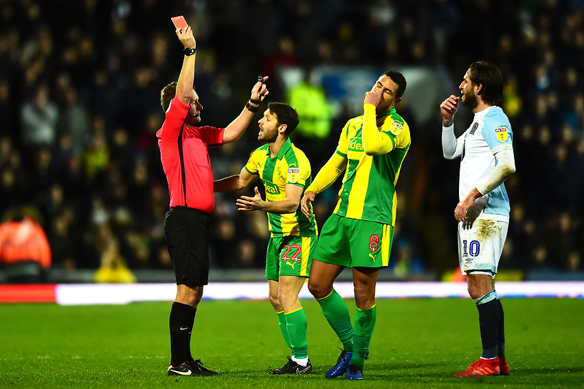 West Bromwich Albion's Jake Livermore is shown a red card by Referee Oliver Langford<br /> <br /> Photographer Richard Martin-Roberts/CameraSport<br /> <br /> The EFL Sky Bet Championship - Blackburn Rovers v West Bromwich Albion - Tuesday 1st January 2019 - Ewood Park - Blackburn<br /> <br /> World Copyright © 2019 CameraSport. All rights reserved. 43 Linden Ave. Countesthorpe. Leicester. England. LE8 5PG - Tel: +44 (0) 116 277 4147 - admin@camerasport.com - www.camerasport.com