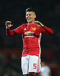 Marcos Rojo of Manchester United celebrates the win during the English League Cup Quarter Final match at Old Trafford  Stadium, Manchester. Picture date: November 30th, 2016. Pic Simon Bellis/Sportimage