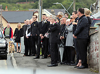 COPY BY TOM BEDFORD<br /> Pictured: Mourners gather outside the family home in Merthyr Tydfil, Wales, UK. Friday 18 August 2017<br /> Re: The funeral of a toddler who died after a parked Range Rover's brakes failed and it hit a garden wall which fell on top of her will be held today at Jerusalem Baptist Chapel in Merthyr Tydfil.<br /> One year old Pearl Melody Black and her eight-month-old brother were taken to hospital after the incident in south Wales.<br /> Pearl's family, father Paul who is The Voice contestant and mum Gemma have said she was &quot;as bright as the stars&quot;.
