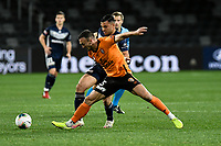 29th July 2020; Bankwest Stadium, Parramatta, New South Wales, Australia; A League Football, Melbourne Victory versus Brisbane Roar; Tom Aldred of Brisbane Roar holds off Andrew Nabbout of Melbourne Victory
