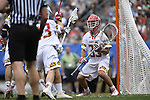 30 MAY 2016: Kyle Bernlohr (35) of the University of Maryland  against  the University of North Carolina during the Division I Men's Lacrosse Championship held at Lincoln Financial Field in Philadelphia, PA. Larry French/NCAA Photos