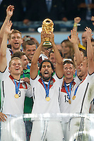 Sami Khedira of Germany lifts the World Cup trophy after winning the 2014 final