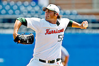 June 03, 2011:   Miami Hurricanes lhp Steven Ewing (55) pitches  during first inning NCAA Gainesville Regional action between Jacksonville Dolphins  and Miami Hurricanes played at Alfred A. McKethan Stadium on the campus of Florida University in Gainesville, Florida. Miami defeated Jacksonville 7-2. ........