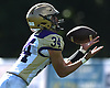 Nicholas Basil #34 of Sayville fields a kickoff during a Suffolk County Division 3 varsity football game against host Half Hollow Hills West High School in Dix Hills on Saturday, Sept. 15, 2018. Hills West won by a score of 34-18.