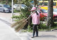 A worker at Ngong Ping Village, Lantau Island, Hong Kong on 6.4.19.