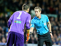 Referee John Brooks has a word with Hull City's David Marshall<br /> <br /> Photographer Alex Dodd/CameraSport<br /> <br /> The EFL Sky Bet Championship - Leeds United v Hull City - Saturday 29th December 2018 - Elland Road - Leeds<br /> <br /> World Copyright © 2018 CameraSport. All rights reserved. 43 Linden Ave. Countesthorpe. Leicester. England. LE8 5PG - Tel: +44 (0) 116 277 4147 - admin@camerasport.com - www.camerasport.com
