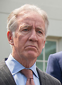 United States Representative Richard Neal (Democrat of Massachusetts) listens as Democratic members of the United States House and Senate speak to reporters at the White House in Washington, DC after meeting with US President Donald J. Trump on April 30, 2019.  Lujan serves as assistant speaker and recently announced he is running for the US Senate from New Mexico in the 2020 election.<br /> Credit: Ron Sachs / CNP