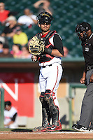 Lansing Lugnuts catcher Santiago Nessy (14) during a game against the South Bend Silver Hawks on June 6, 2014 at Cooley Law School Stadium in Lansing, Michigan.  South Bend defeated Lansing 13-5.  (Mike Janes/Four Seam Images)