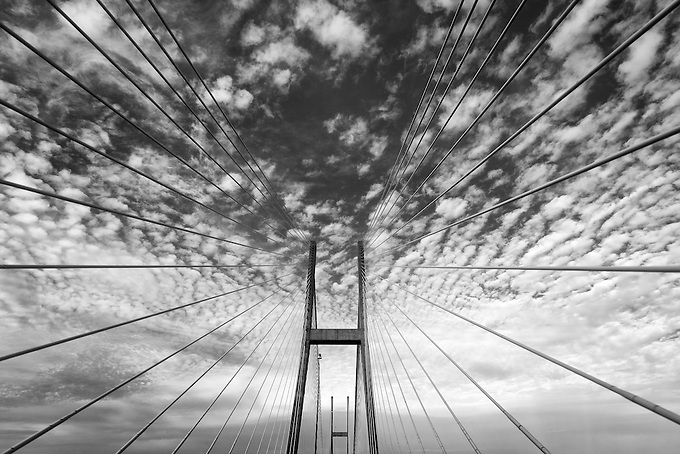 Radiating lines and symmetry seen in one of northeast Florida's bridges over the St. John's River.