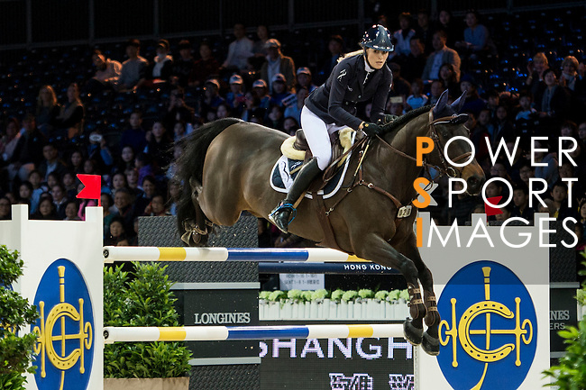 Jessica Mendoza on Wan Architect competes during competition Table A Against the Clock at the Longines Masters of Hong Kong on 19 February 2016 at the Asia World Expo in Hong Kong, China. Photo by Li Man Yuen / Power Sport Images