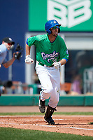 Hartford Yard Goats second baseman Brandon Bednar (39) runs to first base during a game against the Trenton Thunder on August 26, 2018 at Dunkin' Donuts Park in Hartford, Connecticut.  Trenton defeated Hartford 8-3.  (Mike Janes/Four Seam Images)