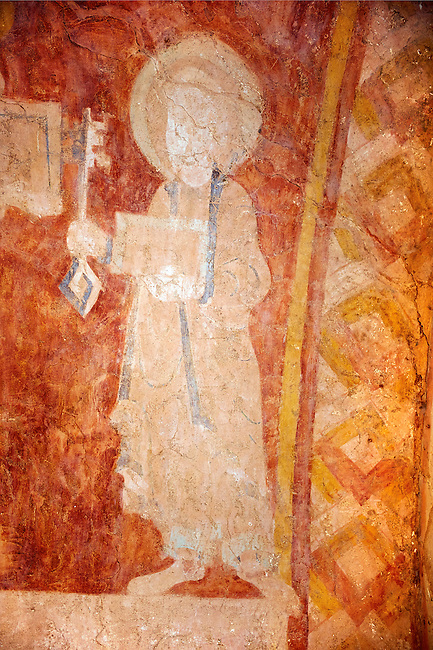 Romanesque fresco of Christ Pantocrator in the altar vault of the Norman Church of St Mary's Kempley Gloucestershire, England, Europe