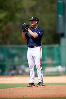 Atlanta Braves pitcher Tanner Allison (20) gets ready to deliver a pitch during an Instructional League game against the Detroit Tigers on October 10, 2017 at the ESPN Wide World of Sports Complex in Orlando, Florida.  (Mike Janes/Four Seam Images)