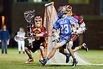 Los Angeles, CA 04/21/10 - Jeff Gleiberman (USC #13) and JR Borneman (UCLA #23) in action during the cross town rivalry game between USC and UCLA, UCLA defeated USC 10-9 and secured a quarterfinal position in the MCLA-SLC playoff bracket.