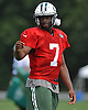 Geno Smith #7, New York Jets quarterback, gestures during training camp at Atlantic Health Jets Training Center in Florham Park, NJ on Saturday, Aug. 13, 2016.