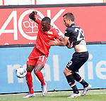 27.06.2020, Stadion an der Wuhlheide, Berlin, GER, DFL, 1.FBL, 1.FC UNION BERLIN  VS. Fortuna Duesseldorf , <br /> DFL  regulations prohibit any use of photographs as image sequences and/or quasi-video<br /> im Bild Sheraldo Becker (1.FC Union Berlin #27), Markus Suttner (Fortuna Duesseldorf #29)<br /> <br />      <br /> Foto © nordphoto / Engler