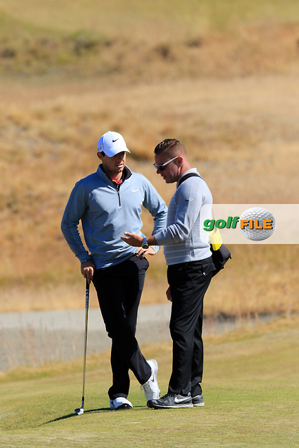 Rory MCILROY (NIR) and Sean Foley on the 17th green during Wednesday's Practice Day of the 2015 U.S. Open 115th National Championship held at Chambers Bay, Seattle, Washington, USA. 6/17/2015.<br /> Picture &copy; Golffile/Eoin Clarke