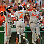 19 May 2012: Baltimore Orioles outfielder Adam Jones returns to the dugout after hitting a home run during game action against the Washington Nationals at Nationals Park in Washington, DC. The Orioles defeated the Nationals 6-5 in the second game of their 3-game series. Mandatory Credit: Ed Wolfstein Photo