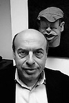 Natan (Anatoly) Sharansky former Israeli Minister for Jerusalem and Diaspora Affairs is seen next to a caricature puppet based on him for an Israeli TV show, in his office in Jerusalem. Photo by Quique Kierszenbaum