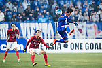 Suwon Midfielder Kim Minwoo (R) fights for the ball with Guangzhou Midfielder Liao Lisheng (L) during the AFC Champions League 2017 Group G match Between Suwon Samsung Bluewings (KOR) vs Guangzhou Evergrande FC (CHN) at the Suwon World Cup Stadium on 01 March 2017 in Suwon, South Korea. Photo by Victor Fraile / Power Sport Images