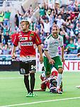 Stockholm 2014-06-08 Fotboll Superettan Hammarby IF - Landskrona BoIS  :  <br /> Hammarbys Kennedy Bakircioglu jublar efter att ha gjort 1-0 i den f&ouml;rsta halvleken medan Landskronas M&aring;rten Nordbeck deppar<br /> (Foto: Kenta J&ouml;nsson) Nyckelord:  Superettan Tele2 Arena Hammarby HIF Bajen Landskrona BoIS jubel gl&auml;dje lycka glad happy depp besviken besvikelse sorg ledsen deppig nedst&auml;md uppgiven sad disappointment disappointed dejected