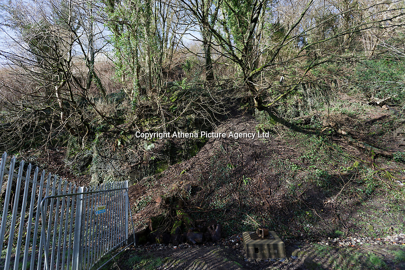 The area affected by landslip in Ystalyfera, south Wales, UK. Wednesday 23 January 2019