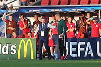 The England bench get ready to celebrate the victory during Slovakia Under-21 vs England Under-21, UEFA European Under-21 Championship Football at The Kolporter Arena on 19th June 2017