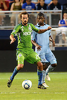 Roger Levesque (24) forward Seattle Sounders in action..... Sporting Kansas City were defeated 1-2 by Seattle Sounders at LIVESTRONG Sporting Park, Kansas City, Kansas.