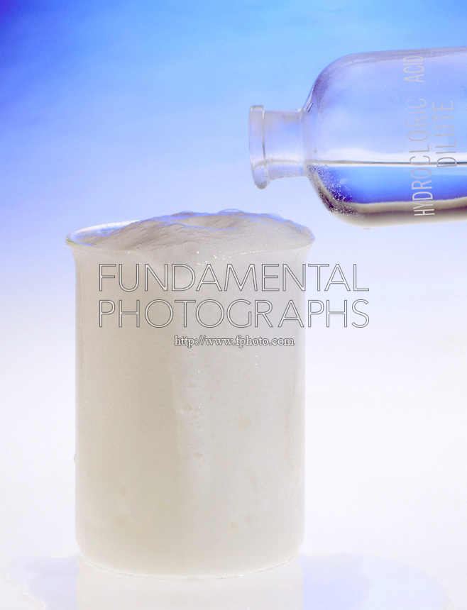 NEUTRALIZATION: SODIUM CARBONATE &amp; ACID (HCl)<br /> Sodium Carbonate and Hydrochloric Acid<br /> Hydrochloric acid is added to sodium carbonate solid to yield sodium chloride, water &amp; carbon dioxide.  2HCl(aq) + Na2CO3(aq) -&gt; 2NaCl(aq) + H2O(l) + CO2(g)