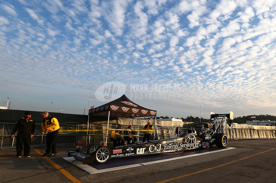 Feb 8, 2014; Pomona, CA, USA; NHRA top fuel dragster driver Bob Vandergriff Jr on scales after a qualifying pass during qualifying for the Winternationals at Auto Club Raceway at Pomona. Mandatory Credit: Mark J. Rebilas-