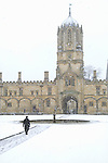 Christ Church in the snow during the Sunday Times Oxford Literary Festival, UK, 16 - 24 March 2013. <br />