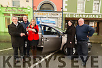 Dolores O'Sullivan who was the January winner of the  Tralee Credit Union Toyota Auris and presenting Dolores with the keys was Derry Fleming (TCU), also in pic Jerry O'Sullivan (Kellihers Toyota Rathass Tralee), Dan O'Sullivan and Susie Ennis (TCU