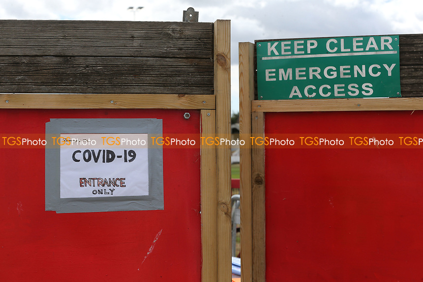 The Covid-19 sign on the entrance to the ground during Ramsgate vs Folkestone Invicta, Friendly Match Football at Southwood Stadium on 1st August 2020