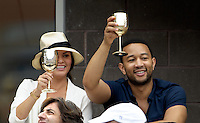 September 2, 2012: Model Chrissy Teigen and singer John Legend visit the Moet & Chandon Suite during Day 7 of the 2012 U.S. Open Tennis Championships at the USTA Billie Jean King National Tennis Center in Flushing, Queens, New York, USA. Credit: mpi105/MediaPunch Inc. /NortePhoto.com<br /> <br /> **CREDITO*OBLIGATORIO**<br /> *No*Venta*A*Terceros*<br /> *No*Sale*So*third*<br /> *** No Se Permite Hacer Archivo**