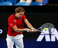 3rd January 2020; RAC Arena, Perth, Western Australia; ATP Cup Australia, Perth, Day 1, Russia versus Italy; Daniel Medvedev of Russia plays a backhand shot from the baseline against Italy in the doubles - Editorial Use