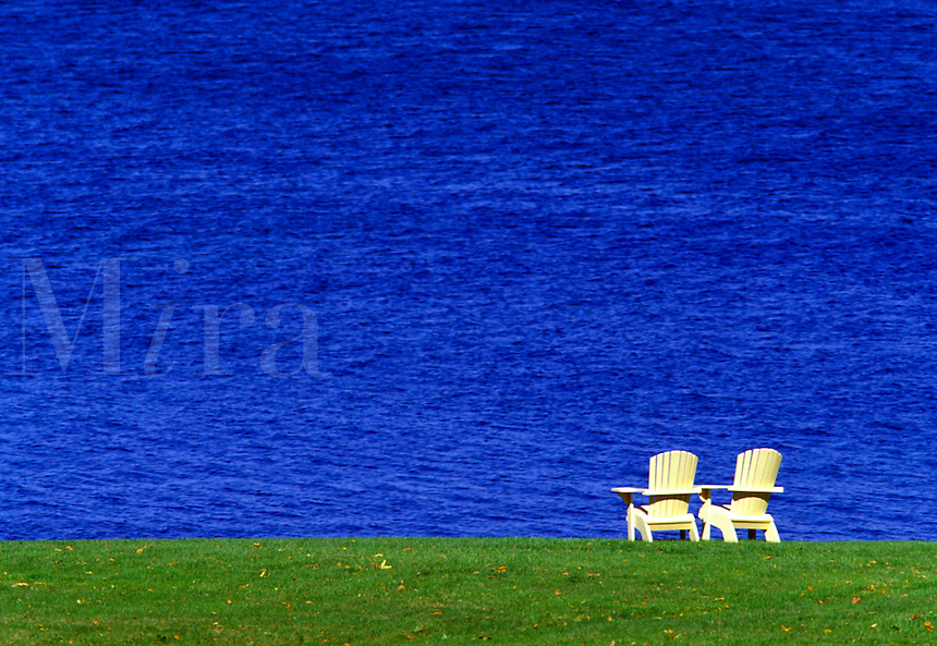 Adirondack chairs overlooking sea, Bar Harbor, Maine