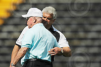 Sep 6, 2008; Hamilton, ON, CAN; BC Lions head coach Wally Buono greets Hamilton Tiger-Cats special advisor, organizational development and former head coach Ron Lancaster shortly before his death September 18, 2008 from a heart attack while he was fighting lung cancer. CFL football - BC Lions defeated the Hamilton Tiger-Cats 35-12 at Ivor Wynne Stadium. Mandatory Credit: Ron Scheffler-www.ronscheffler.com. Copyright (c) Ron Scheffler
