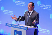 President Francois Hollande of France addresses the Leaders' Summit on Peacekeeping at the 70th annual UN General Assembly at the UN headquarters September 28, 2015 in New York City. The White House helped to lead and secure new commitments of peacekeeping support from UN member countries. <br /> Credit: Chip Somodevilla / Pool via CNP