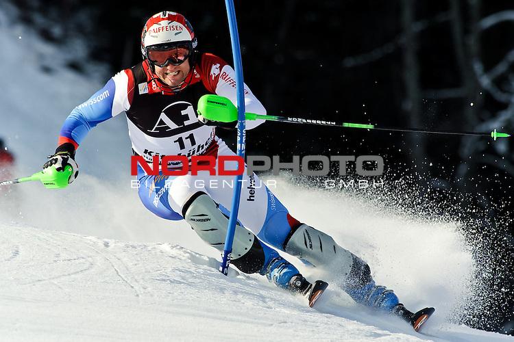 23.01.2011, Hahnenkamm, Kitzbuehel, AUT, FIS World Cup Ski Alpin, Men, Slalom, im Bild // Silvan Zurbriggen (SUI) // during the men slalom race at the FIS Alpine skiing World cup in Kitzbuehel, Foto © nph /  S. Zangrando