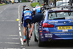 Mechanical for Dexter Gardias Bike Channel Canyon during Stage 3 of the Tour de Yorkshire 2017 running 194.5km from Bradford/Fox Valley to Sheffield, England. 30th April 2017. <br /> Picture: ASO/P.Ballet | Cyclefile<br /> <br /> <br /> All photos usage must carry mandatory copyright credit (&copy; Cyclefile | ASO/P.Ballet)