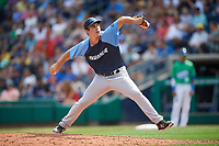Trenton Thunder relief pitcher Chase Hodson (24) delivers a pitch during a game against the Hartford Yard Goats on August 26, 2018 at Dunkin' Donuts Park in Hartford, Connecticut.  Trenton defeated Hartford 8-3.  (Mike Janes/Four Seam Images)