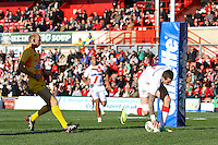 PICTURE BY ALEX WHITEHEAD/SWPIX.COM - Rugby League - Autumn International Series - Wales vs England - Glyndwr University Racecourse Stadium, Wrexham, Wales - 27/10/12 - England's Zak Hardaker scores a try.