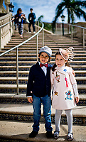 HALLANDALE BEACH, FL - JANUARY 27: Brother and sister show off their best fashion on  Pegasus World Cup Invitational Day at Gulfstream Park Race Track on January 27, 2018 in Hallandale Beach, Florida. (Photo by Scott Serio/Eclipse Sportswire/Getty Images)
