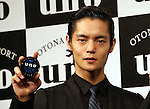 """March 9, 2016, Tokyo, Japan - Japanese actor Masataka Kubota displays men's hair styling wax """"Uno"""" in Tokyo on Wednesday, March 9, 2016. Japanese cosmetics giant Shiseido unveiled the new series of men's hair styling products.  (Photo by Yoshio Tsunoda/AFLO)"""