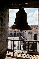 February 22, 1986. Havana, Cuba. A-top the Havana Cathedral, the bell rings for the first time in 27 years.