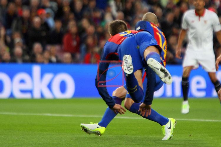 League Santander 2016/2017. Game: 30.<br /> FC Barcelona vs Sevilla FC: 3-0.<br /> Gerard Pique.